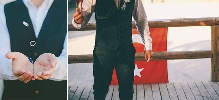 groom with turkish flag